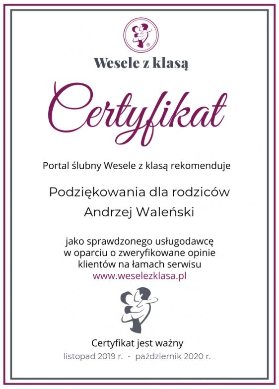 Cały czas certyfikat za dobrą pracę. To na 2020 rok!